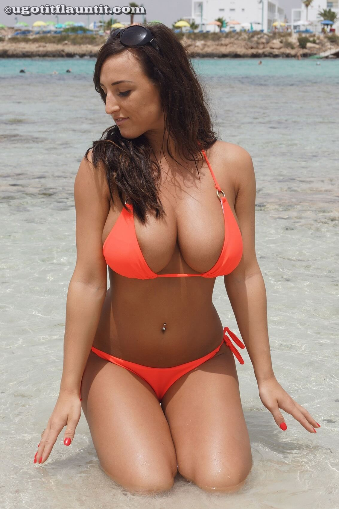 Stacey Poole orange bikini 2