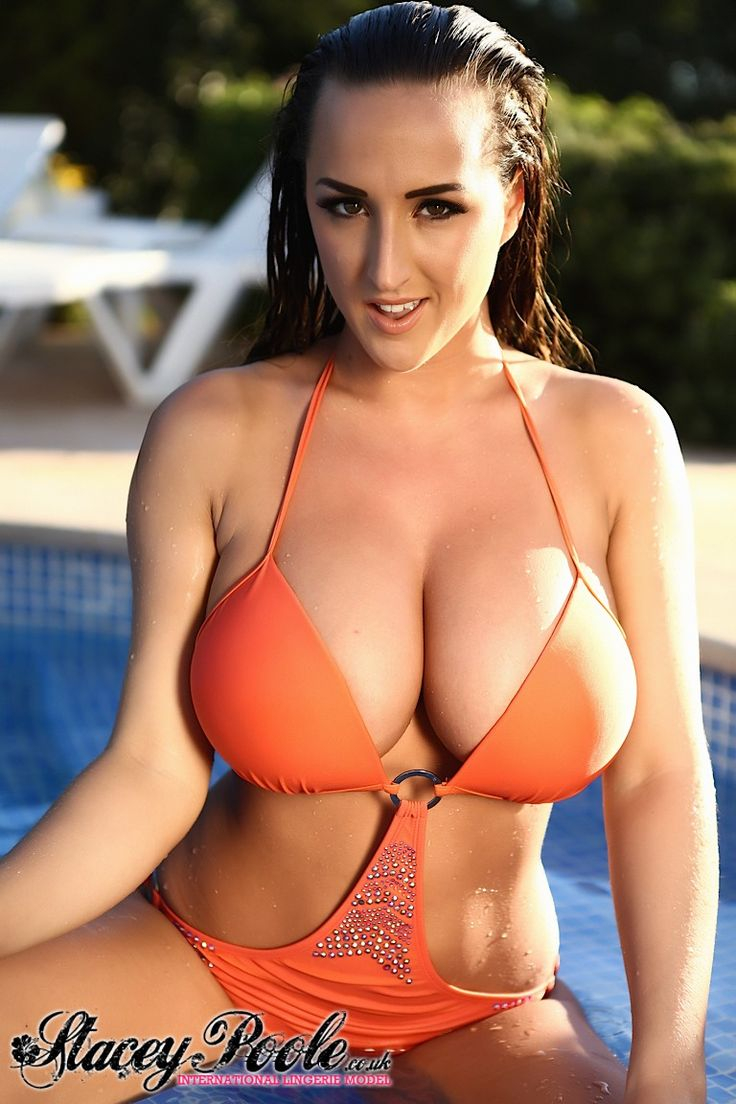Stacey Poole orange bikini