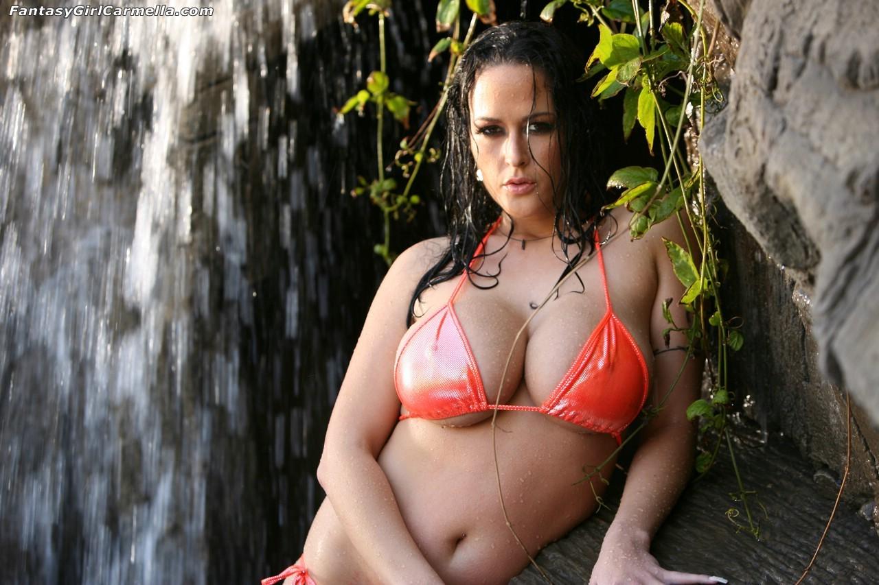 carmella bing orange bikini 2