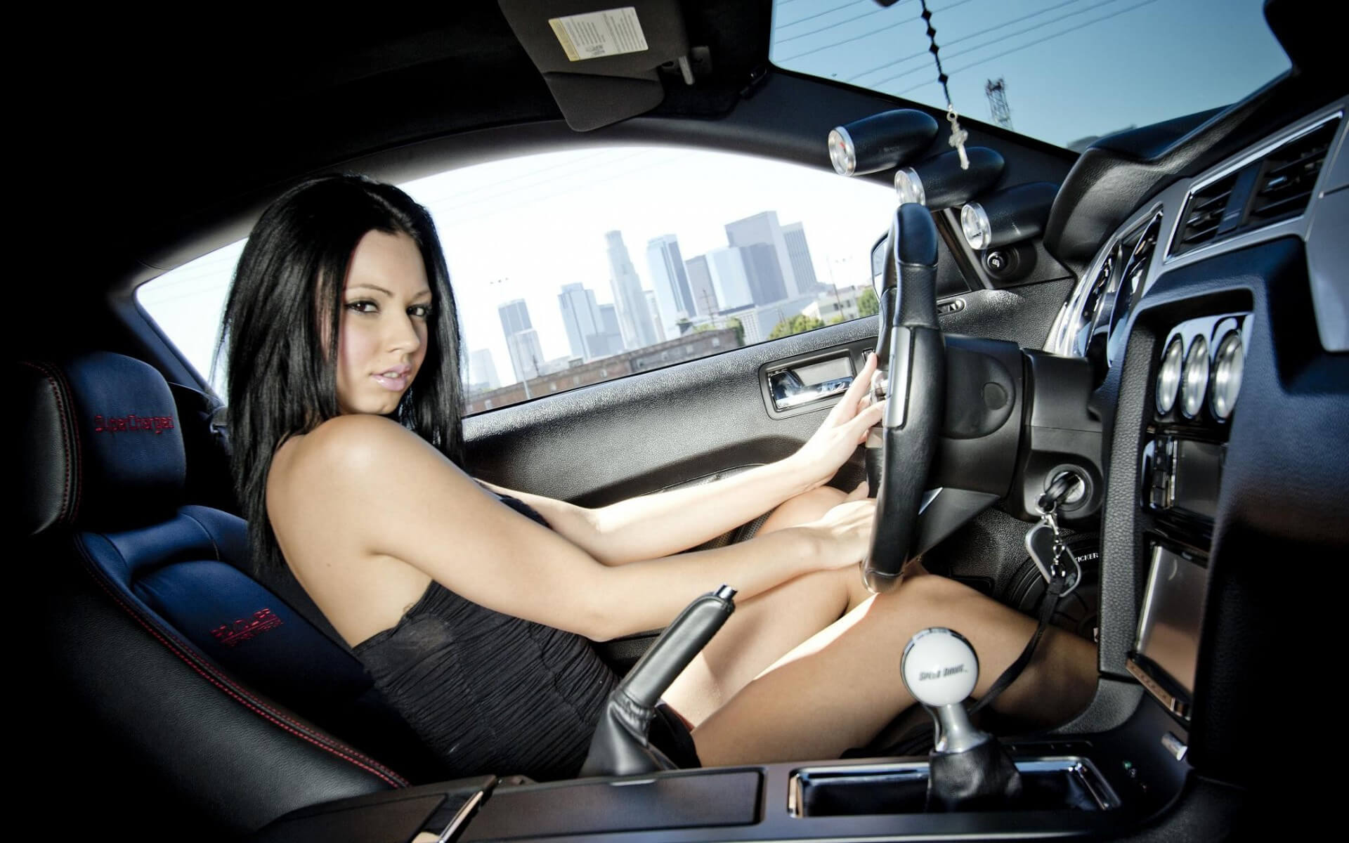 hot brunette driver model
