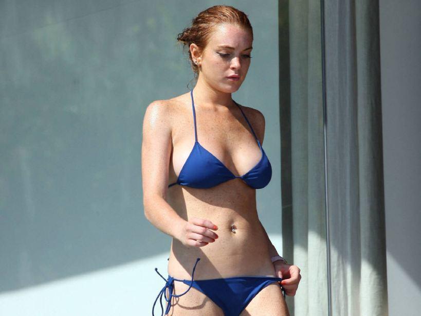 lindsay lohan blue bikini