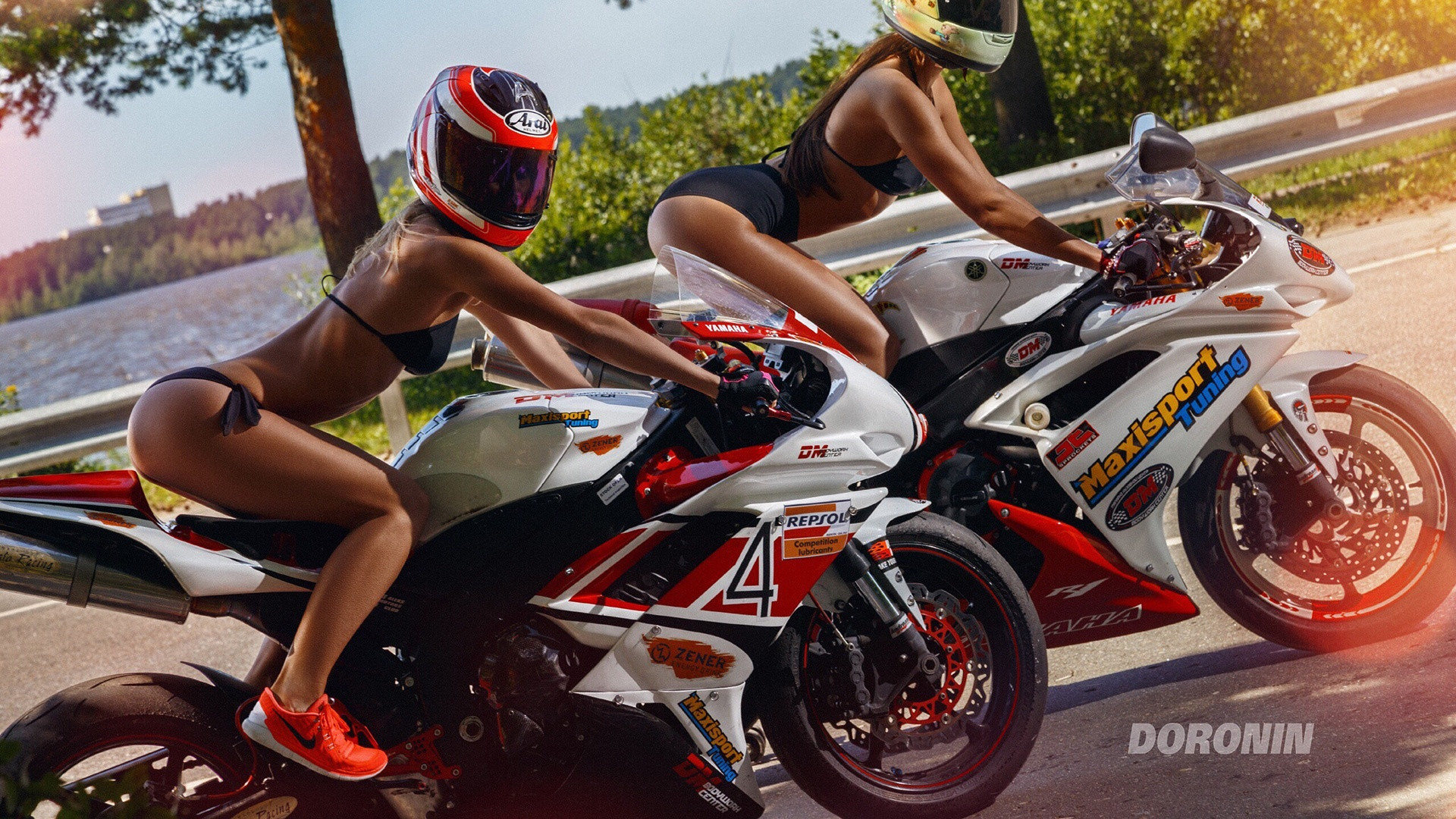 sexy swimsuite babes on bikes 1920x1080