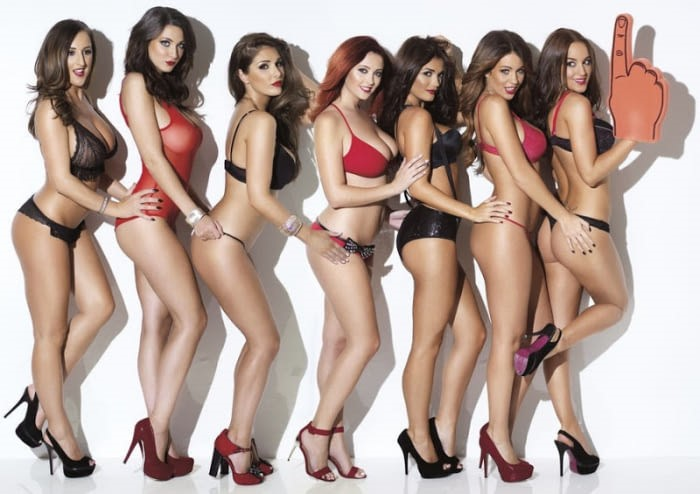 Stacey Poole, Joey Fisher, Lucy Pinder, Lucy Collett, India Reynolds, Holly Peers and Rosie Jones