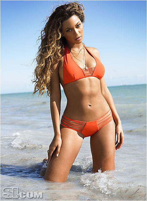 Beyonce Knowles Orange Bikini