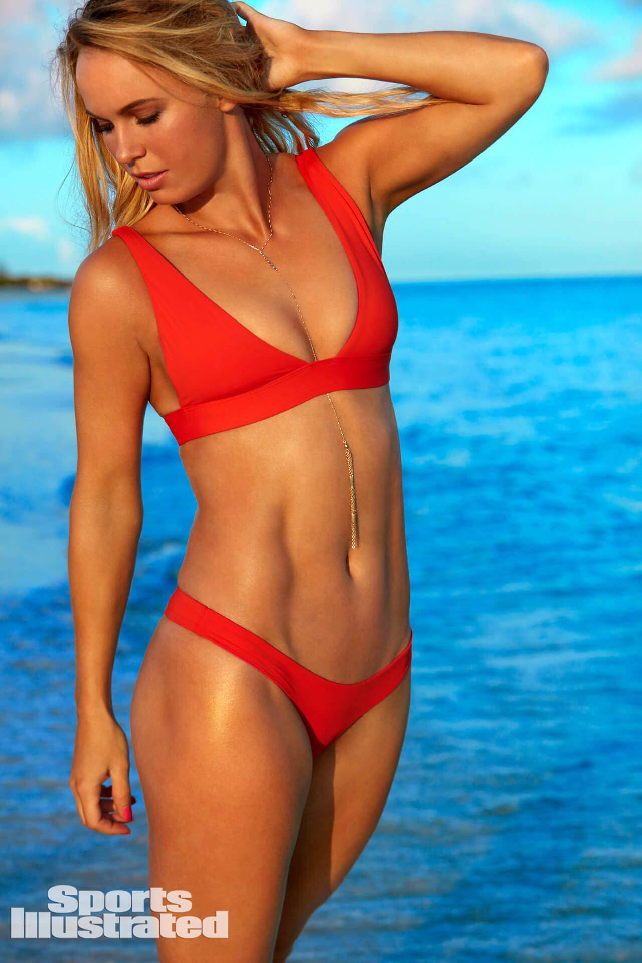Caroline Wozniacki Red Bikini