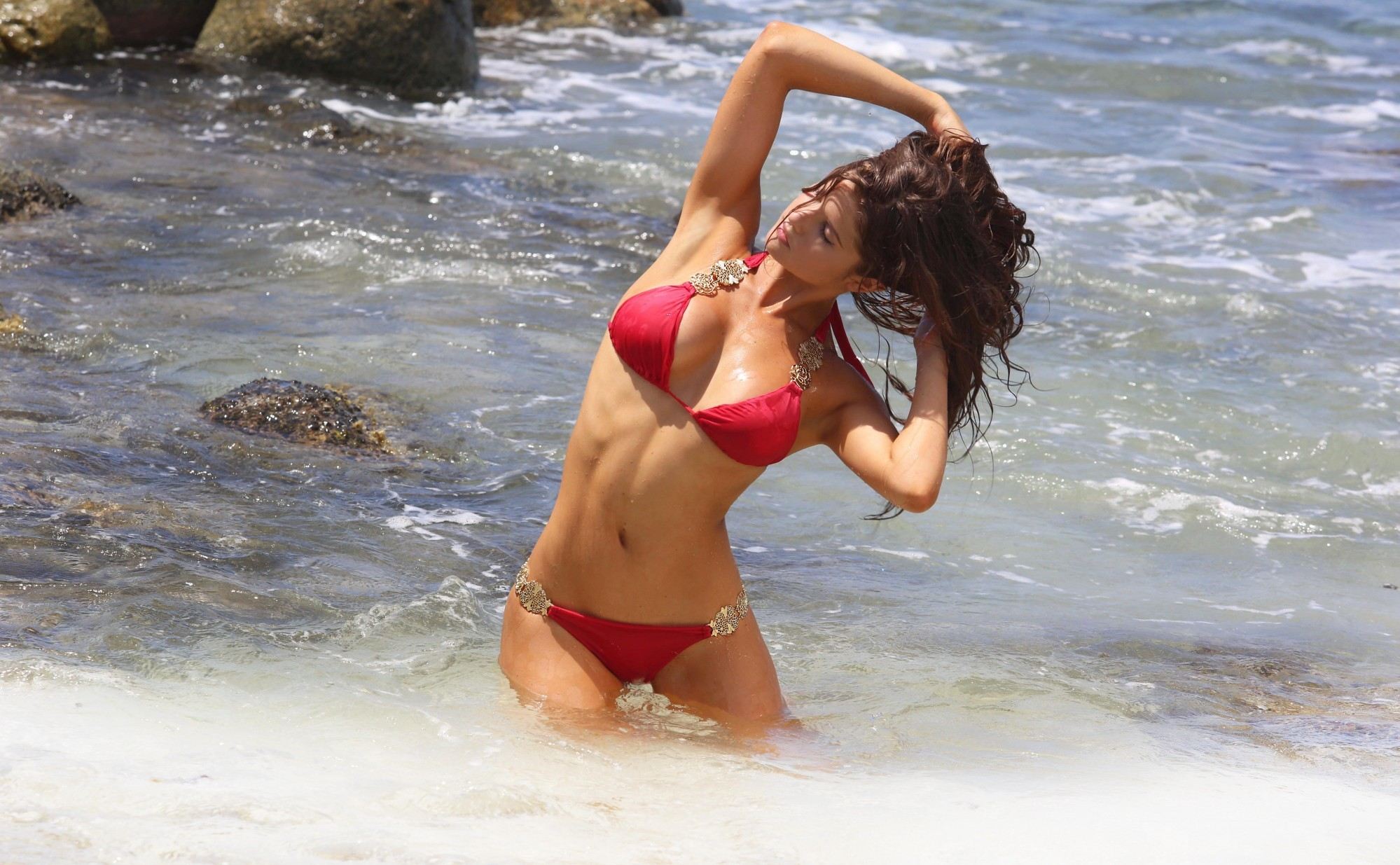Amanda Cerny Red Bikini Wallpapers